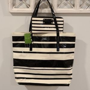 Kate Spade ♠️ Black & white stripe tote set!!!!